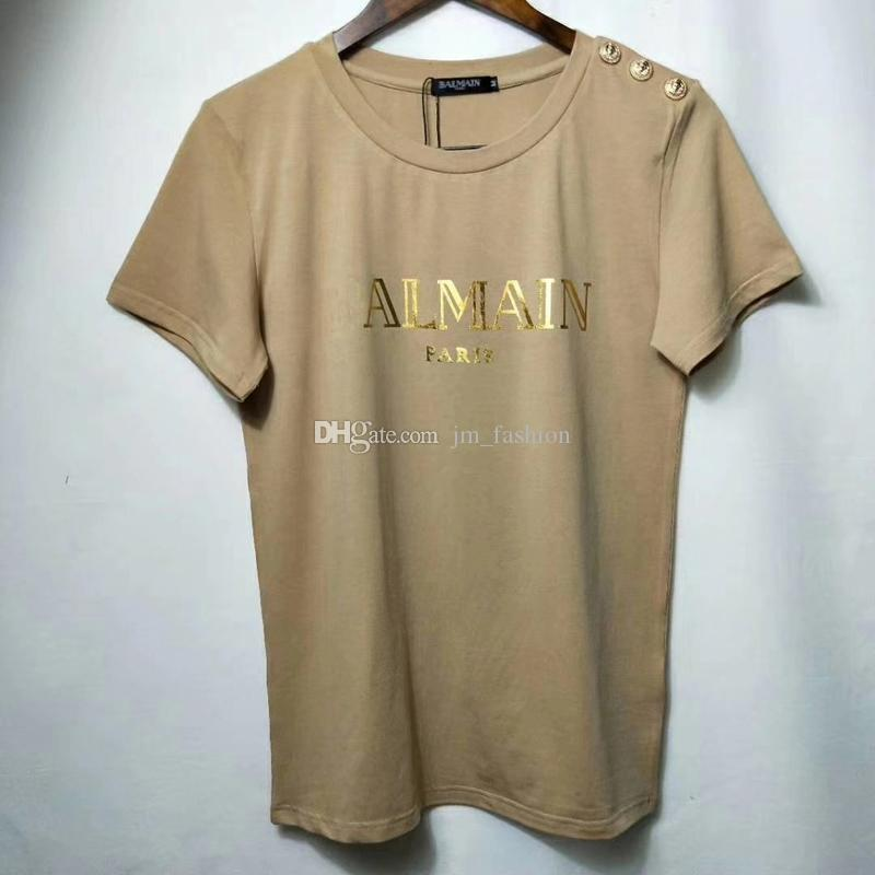High quality Women Letter Print T Shirts Fashion Style Gold Lion Button Cotton Casual Tees Tops For 2020