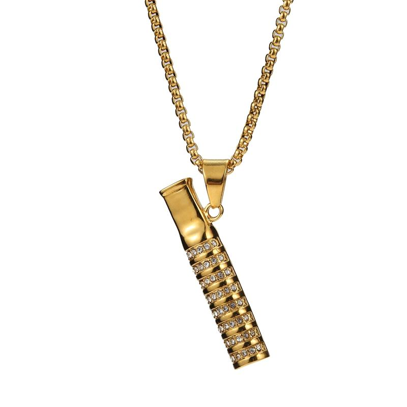 New Gold Cigarette Holder Mouth Mounthpiece Rhinestone Diamonds Decorate Necklace Portable Pendant Torque For Smoking Tool Hot Cake DHL
