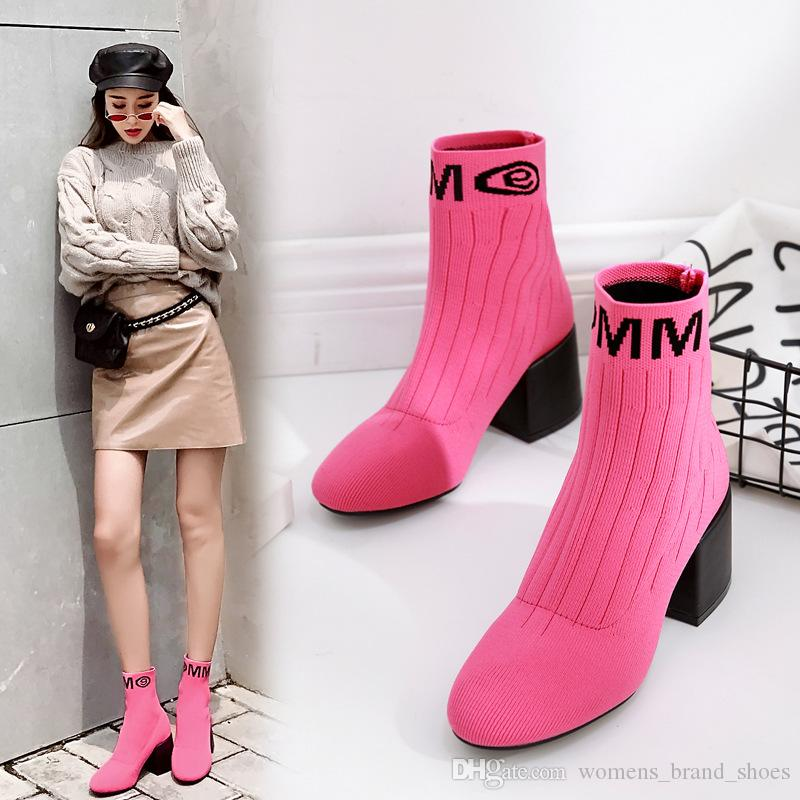 2019 automne et l'hiver bottes femmes style européen et américain manches en tricot maille bottines talon trapu avec des bottes Martin bottes femmes