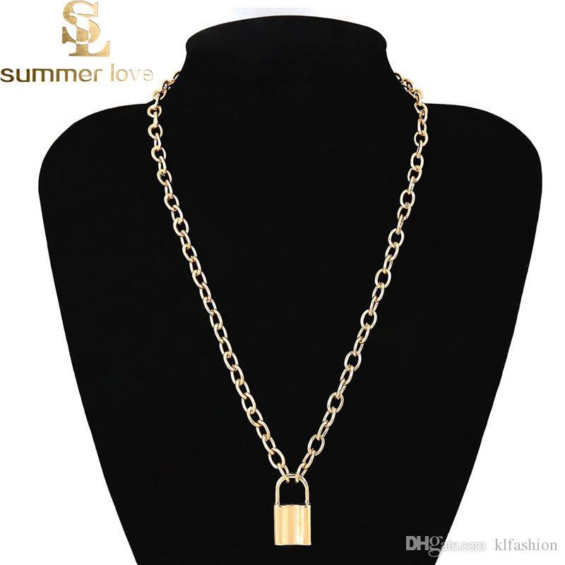 Collar colgante de la cerradura del amante de la alta calidad Steampunk collar de la clavícula para las mujeres cadena de aleación de oro de oro regalo del día de San Valentín 2019