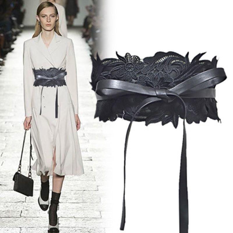 Cinturón ancho de encaje para mujer Diseñador de moda de lujo Cinturones Vestido de mujer Cinturón Temperamento Cinturón atractivo para la fiesta