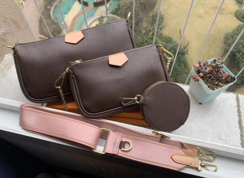 Verkauf 3-teiliges Set Schulterbeutel Frauen Umhängetasche aus Leder Luxus-Handtaschen Geldbörsen Designer Dame Tragetaschen Geldbörse drei Artikel mki