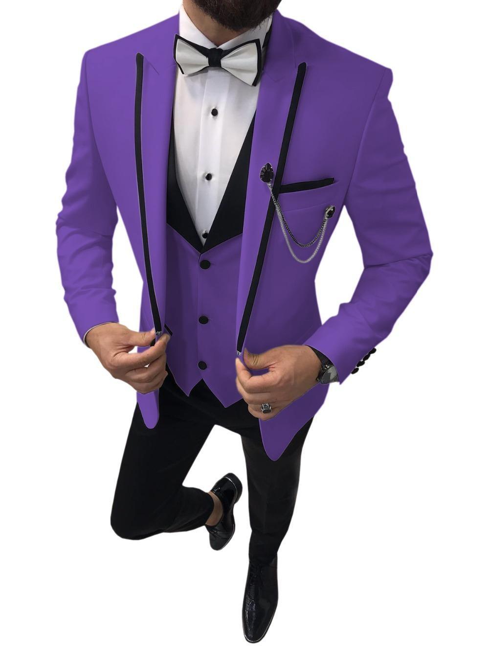 Новый фиолетовый жених смокинги пикивый пик отворотки жениха свадебное платье отличный мужской куртку Blazer 3 шт. Костюм (куртка + брюки + жилет + галстук) 2205