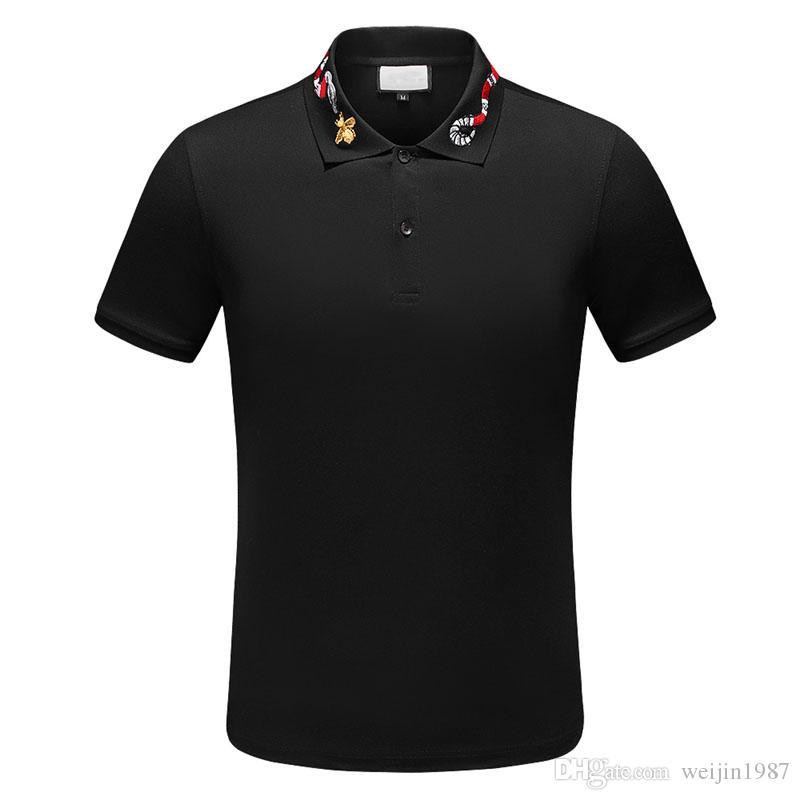 Lüks Tasarımcı Polo Gömlek Erkekler Lüks Polo Casual Polo T Gömlek Yılan Arı Mektup Baskı Nakış Moda Yüksek Sokak Erkek Yaka Boyun Polos