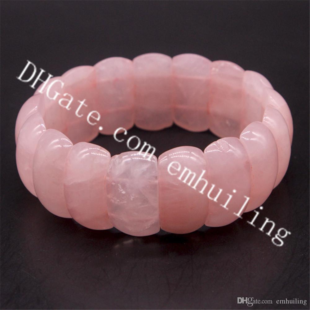 10Pcs Handmade Rose Quartz Bead Stretch Bracelet Wristband 15mm 20mm 25mm Genuine Polished Natural Pink Crystal Stones Wide Bracelet Unisex