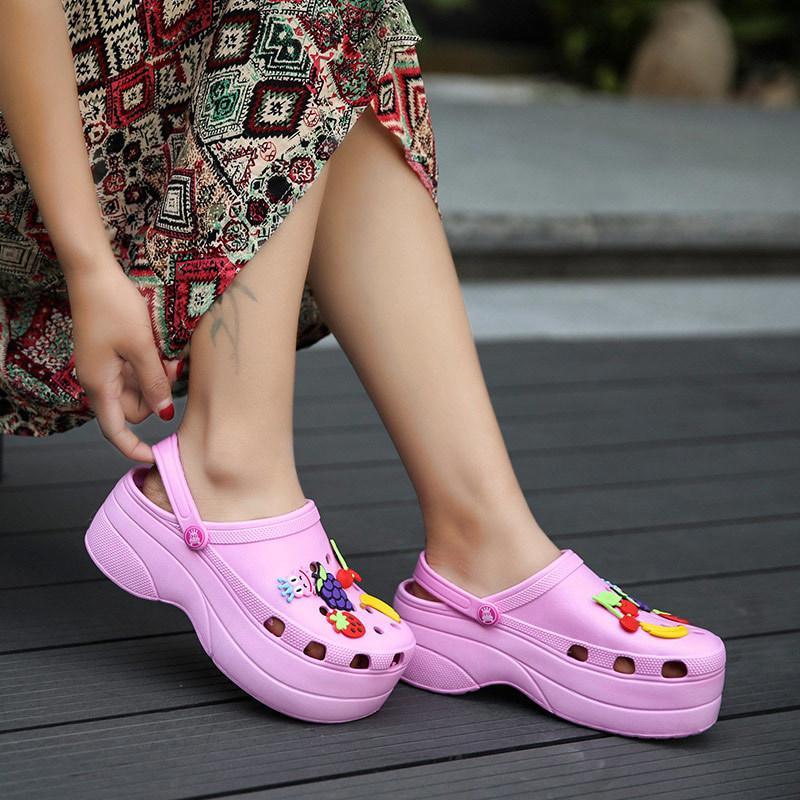 Kadın Yaz Croc Takunya Platformu Bahçe Sandalet Karikatür Meyve Terlik Kız için Kayma Kız Plaj Ayakkabı Moda Slaytlar Açık 2020 Y200520