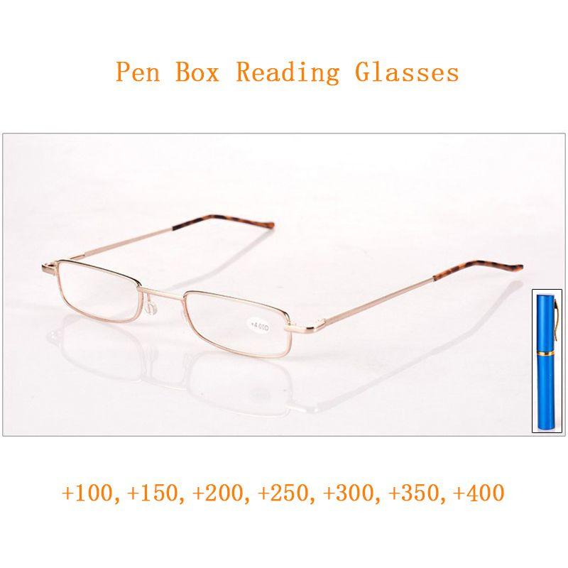 Pluma caja gafas de lectura lupa para las mujeres de los hombres de metal portátil presbicia Gafas de Visión + 1,0 + 4,0 ~ Viejo regalo Gafas