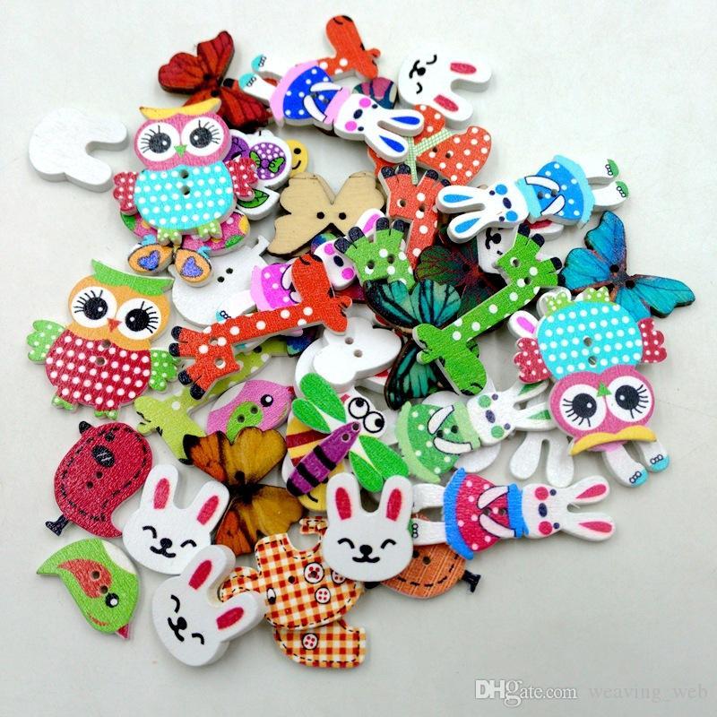 Federal Express 50pcs botones de madera lindos animales formados pintadas 2HOLE botones de madera para Scrapbooking DIY Crafts bebé Ropa para niños