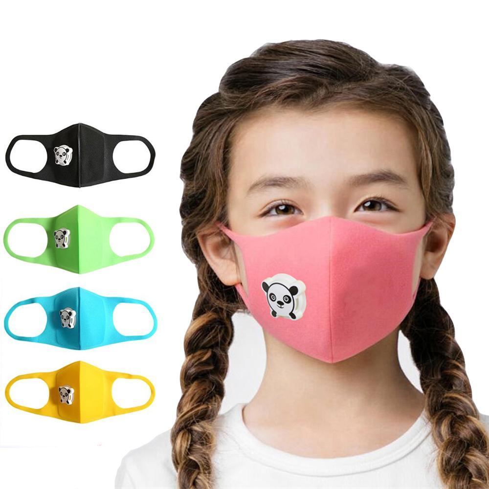 Lindo máscara Panda Boca con la respiración de la válvula anti-polvo PM2.5 niños de los niños de dibujos animados Esponja cara Máscara facial al aire libre de la contaminación Protevt respirador