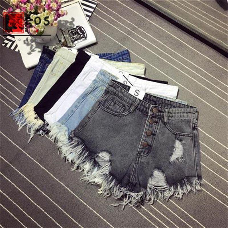 Femmes Shorts Jeans Casual Shorts Denim été taille haute ouvertures pour les jambes fourrée Sexy Jeans court en vrac coréens