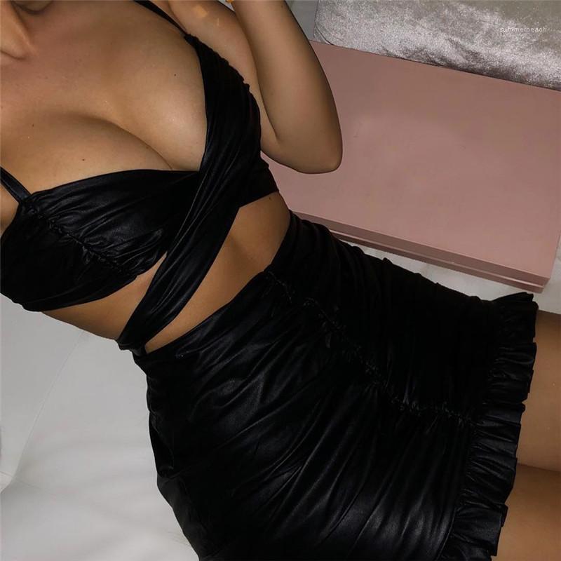 Spaghetti Strap col en V Pétale Robes Femmes moulante sexy du Club de soirée Robes Femmes Noir Designer PU robes de mode
