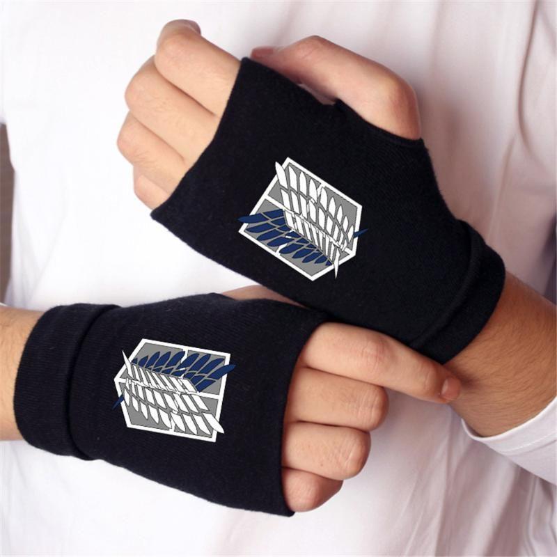 Anime Attack on Titan Madara cat Finger Cotton Knitting Wrist Gloves Mitten Lovers Anime Accessories Cosplay Fingerless gloves