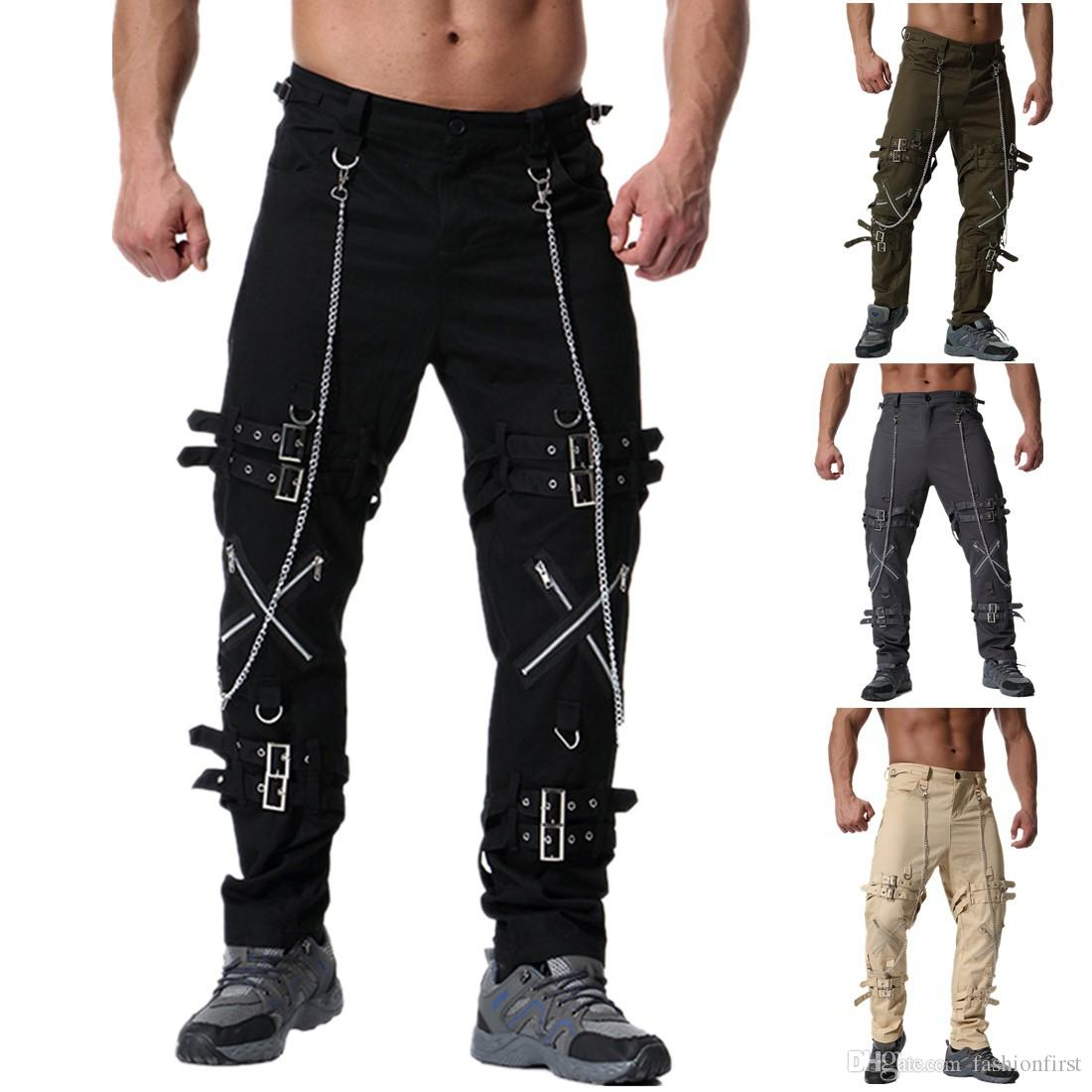 Fashion Vintage Mens Pants Loose Fit Chain Hip Hop COOL Male Novelty Streetwear Trousers Hot Sale Casual Cargo Pants
