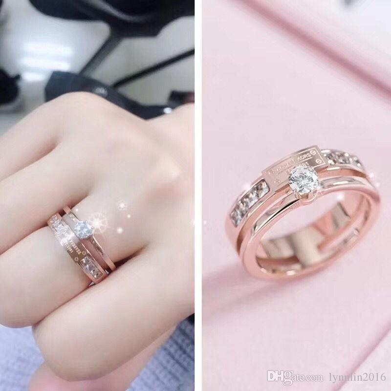 Anéis de aço Titanium amantes anéis Anéis de Banda 316L Tamanho para As Mulheres e Homens de luxo marca de jóias de diamante caixa original opcional