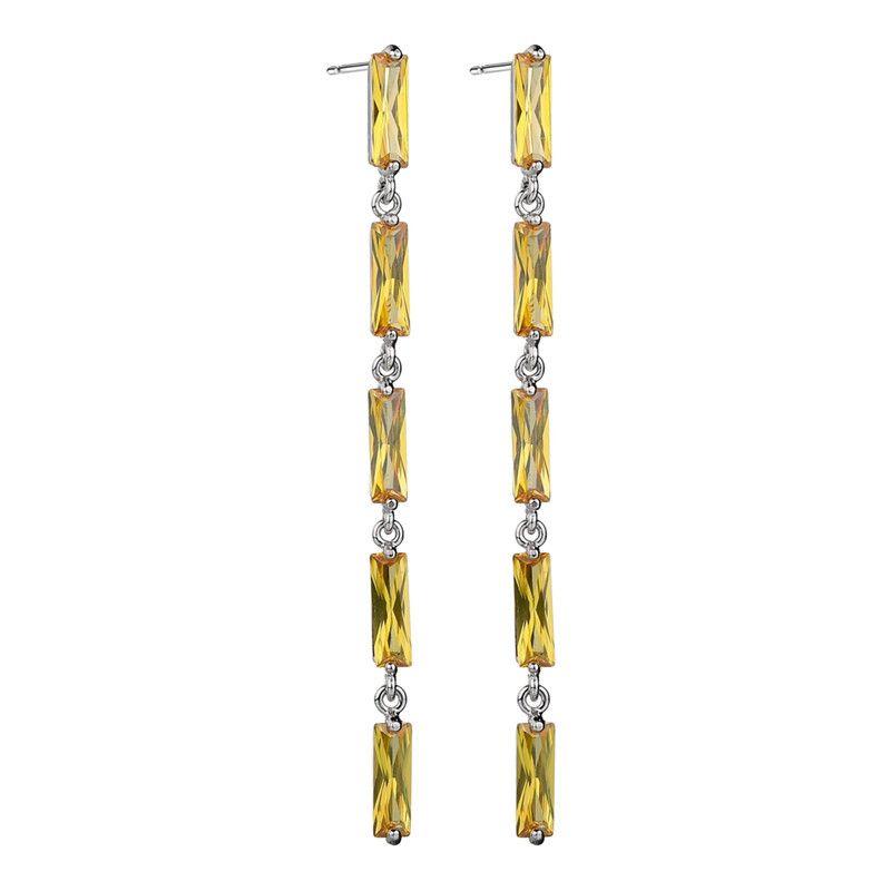 Brincos Dangle para Meninas Projetos de Ouro Brincos Longos Brincos Borlas Branco Roxo Amarelo Cubic Zircon Brincos de Diamante para o Partido