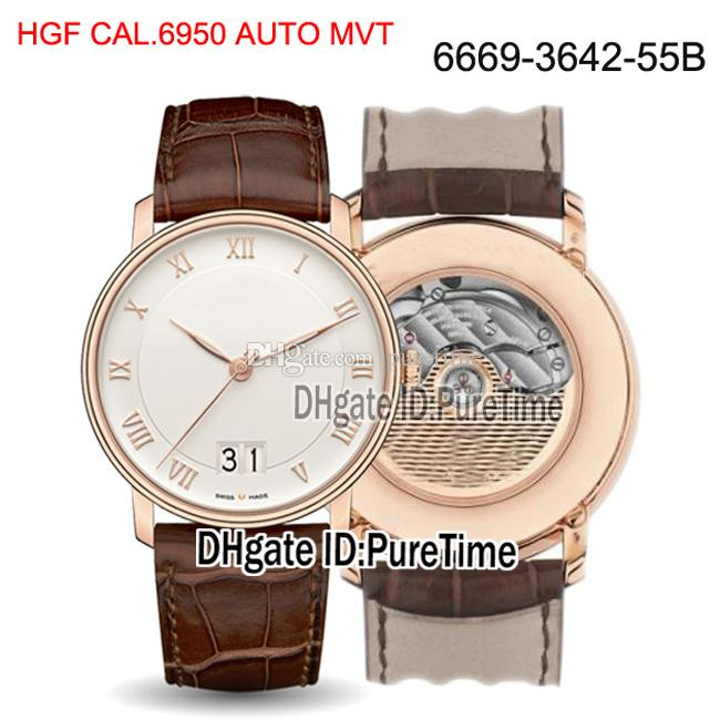 New HGF Villeret Grande Date 6669-3642-55B Cal.A6950 Automatic Mens Watch Rose Gold White Dial Brown Leather Strap Best Edition Puretime