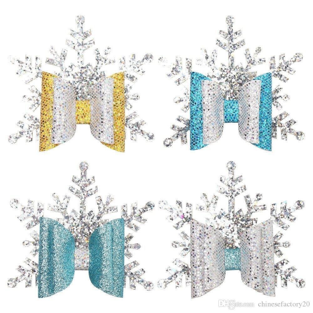 Plata clips brillo del pelo arco de la Navidad para niñas hecha a mano de la capa doble de la celebración de las horquillas del bebé Barrettes de Navidad Accesorios para el cabello
