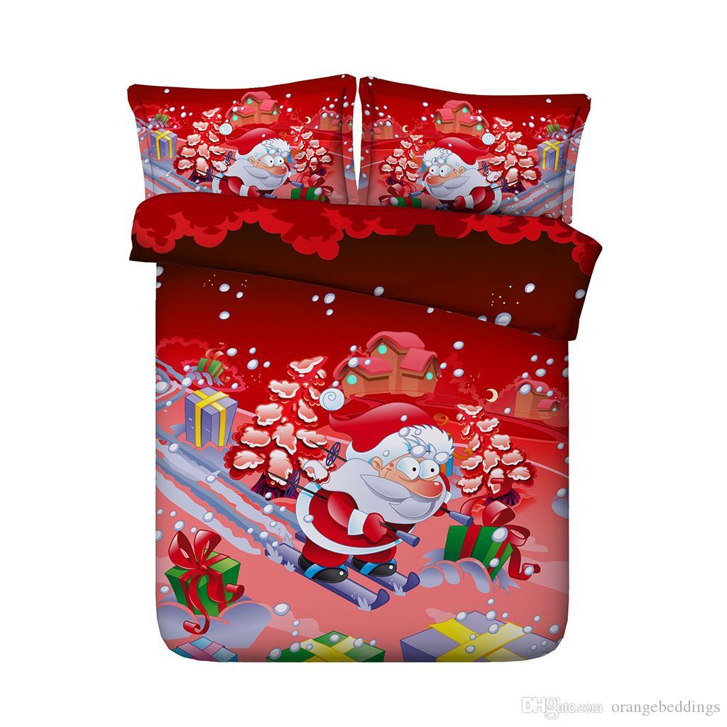 Babbo Natale fiocchi di neve di Natale 3 pezzi set biancheria da letto con 2 guanciale cuscino Cartoon cervi alce pupazzo di neve copripiumino bambini ragazzi ragazze adolescenti regali