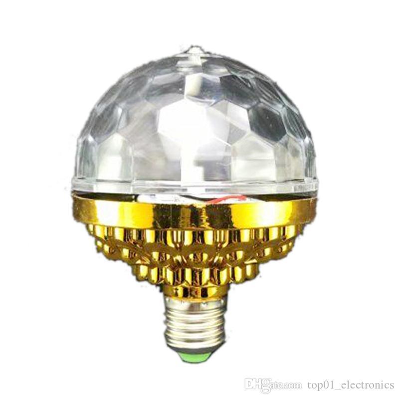 E27 RGB 조명 풀 컬러 LED 크리스탈 무대 조명 자동 회전 무대 효과 DJ 램프 미니 무대 조명 전구 6W