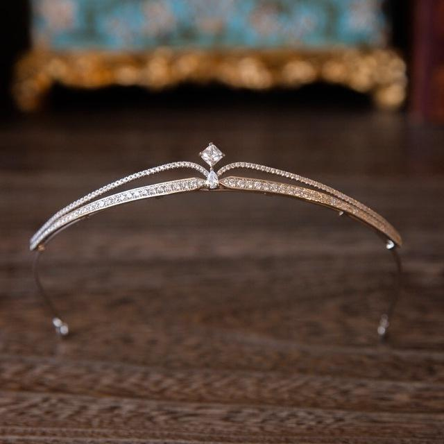 고품질 스파클링 지르콘 신부 티아라 크리스탈 라인 석 기하학적 선발 대회 왕관 신부 머리띠 저녁 헤어 액세서리