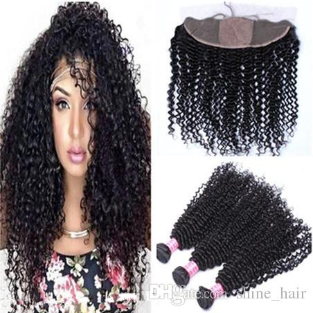 8A 100% Human Hair With 4x4 Silk Base Lace Frontal 4Pcs Lot Deep Curly 3Bundles Virgin Malaysian Hair With Silk Top Lace Frontals