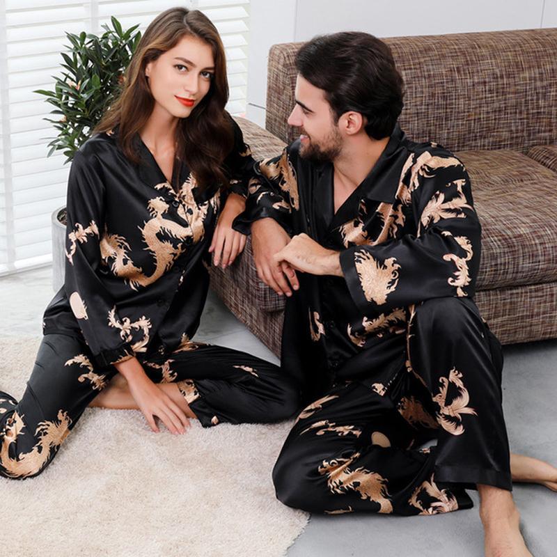 زوجان الحرير الحرير نوم البيجامة مجموعة كم طويل ملابس بيما البيجامة البدلة المرأة والرجل النوم 2PC مجموعة تنحيف زائد الحجم