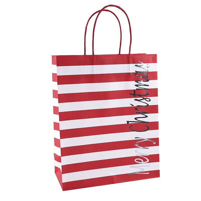 Christmas Cowhide Gift Paper Bag Four-Color Mixed Hair Package 12 Creative Full-Featured Portable Wear-Resistant