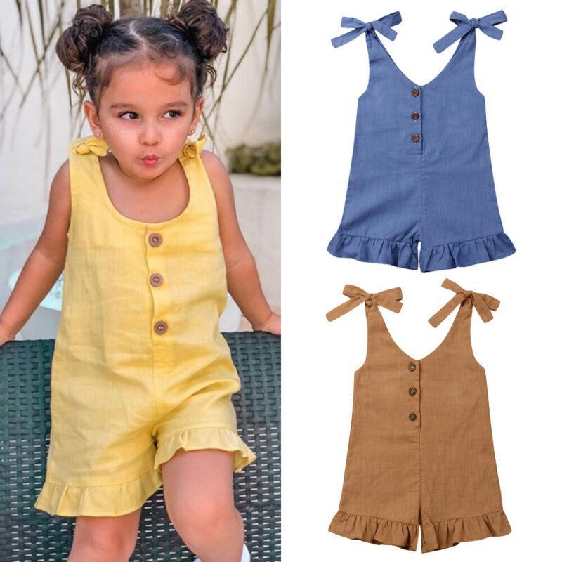 Девушка Romper Симпатичные малышей Детские ребёнки Сплошные рукавов Romper комбинезон Комбинезоны Нижнее