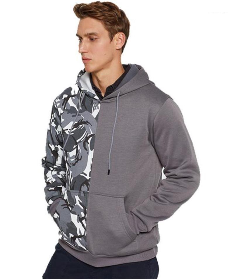 Panelled Mens Hoodies Casual Males Clothing Camouflage Print Panelled Mens Designer Hoodies Fashion Loose Big Pocket