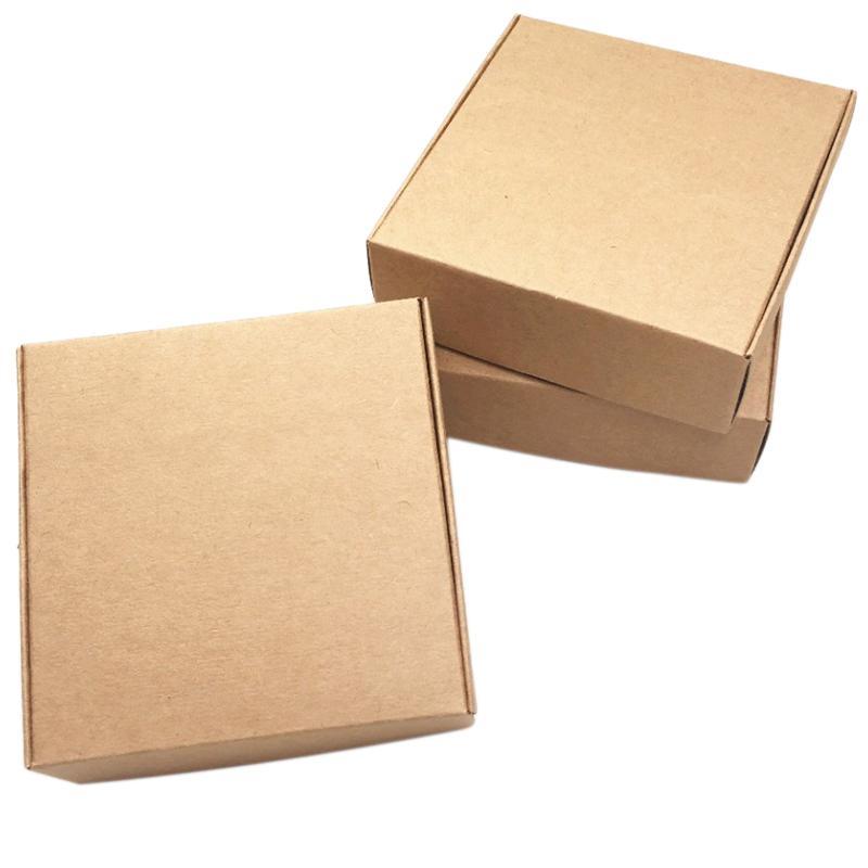 Cajas de regalo de papel Kraft Caja de embalaje de la caja Kraft pequeña Tamaño pequeño 100 piezas