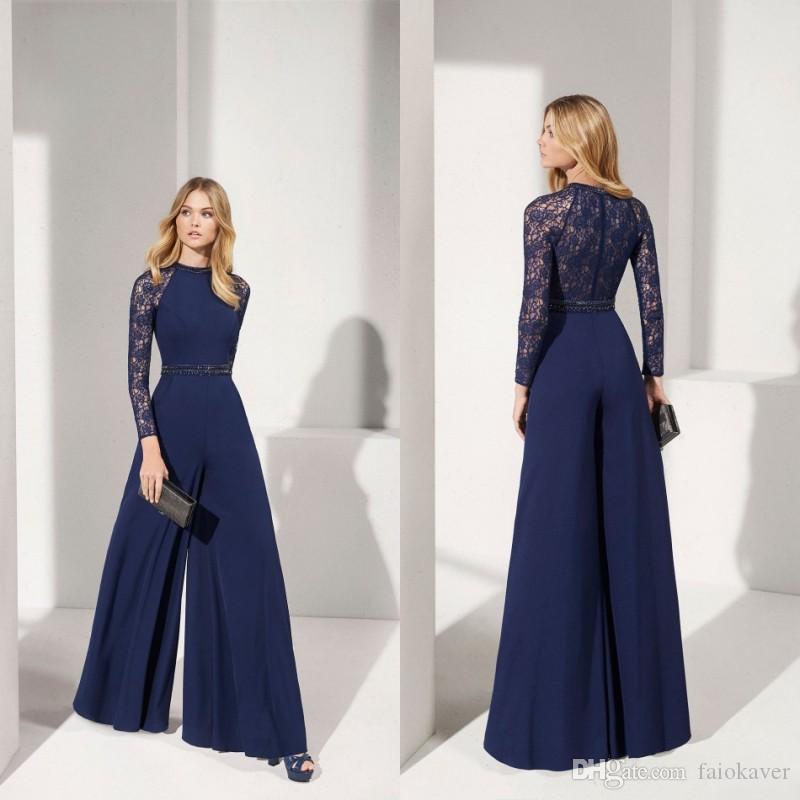 2019 Donanma Tulumlar Anne Gelin Elbiseler Jewel Boyun Dantel Aplike Uzun Kollu Düğün Konuk Elbise Bir Çizgi Abiye giyim
