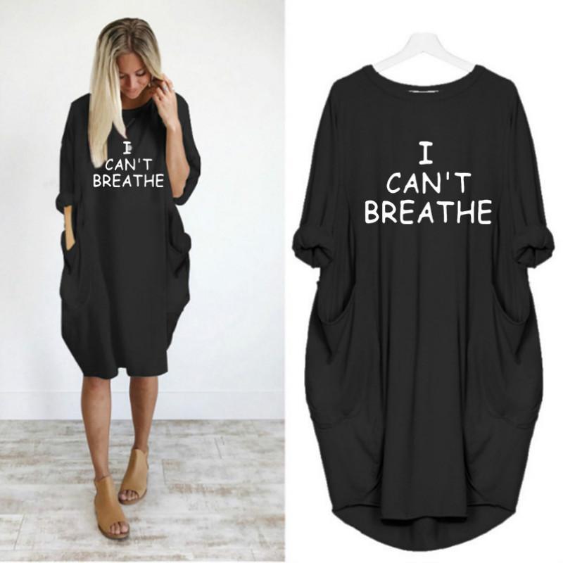 Non riesco a respirare Lettera nuove donne Stampato Maglie signore vestito casuale allentato a maniche lunghe abito di modo di 2020 per all'ingrosso