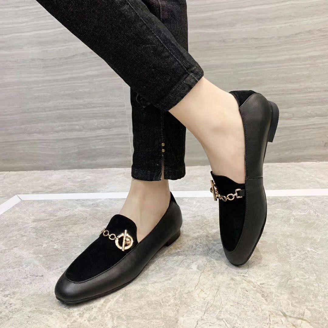 Fashonville ~ 20200318067 Black Genuine pelle scamosciata in pelle scamosciata catena di mocassini scarpe appartamenti