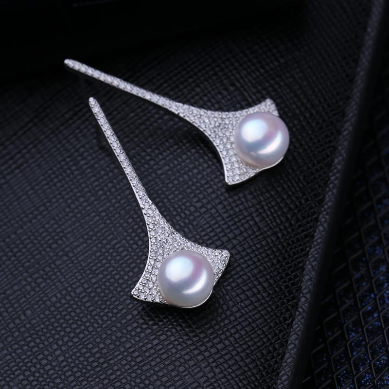 Pendiente de la perla de agua dulce gota Manera- DHgate 925-plata de ley-largas pendientes de joyería de Bohemia de encanto clásico Pendientes Perlas