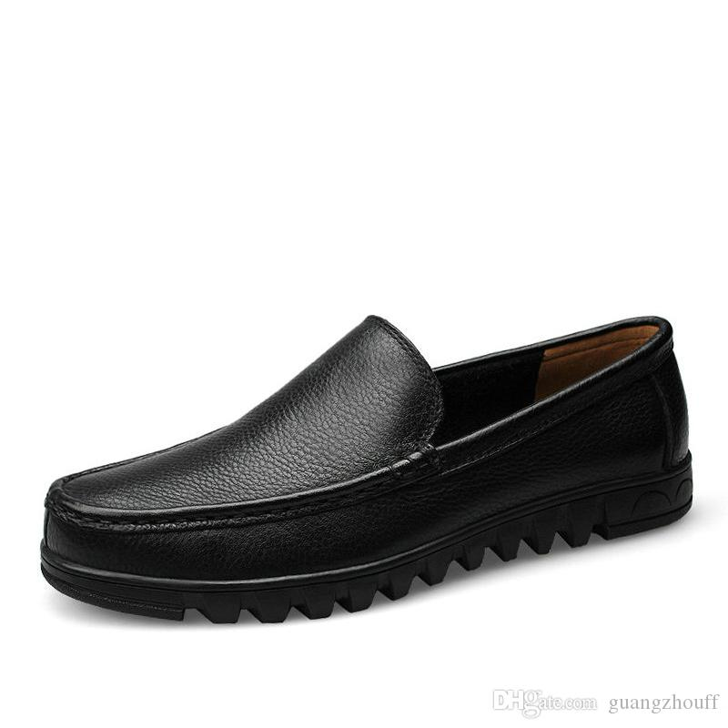 2019 Männer Schuhe Aus Echtem Leder Schwarz Braun Männer Flache Schuhe Klassische Hand Nähen Männer Wohnungen Zapatos Hombres