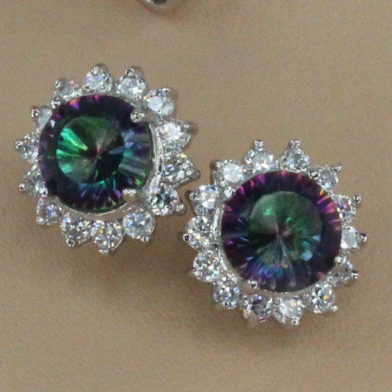 SHUNXUNZE mieux vendre l'engagement des accessoires de bijoux de mariage pour les femmes Stud dropshipping arc-en-Zircon rhodié R733