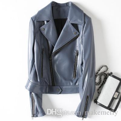 2018 Nueva moda chaqueta de cuero de oveja genuina H31