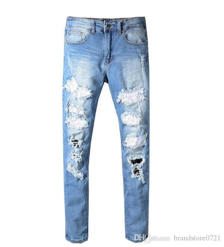 Compre Mens Mezclilla Flaca Arranco Tejanos Pantalones Vaqueros De Los Hombres Elasticos De Los Pantalones Vaqueros En Dificultades Scratch Pantalones Para Hombre Remache De La Manera Pantalones De Mezclilla Streetwear D20 A