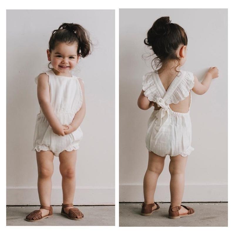 Fashion Girl pagliaccetto del bambino estate Backless senza maniche maglia del merletto dell'infante appena nato delle tute delle tute ins colore solido per bambini un-parti pagliaccetti 241