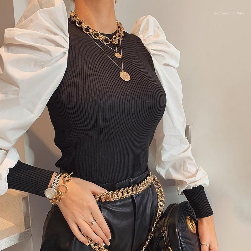 Manica rivestite tute casual girocollo a maniche lunghe Magro pagliaccetti Abbigliamento Donna Moda Donna Puff Designer