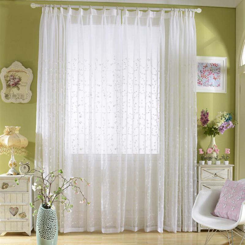 Ramita blanco bordado de tul romana cortinas de la sala de estar Balcón Ropa de Moda gasa apagón decoración moderna Ventana cenefas