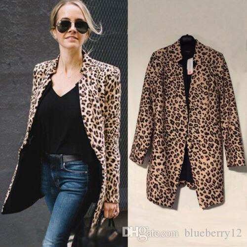 Womens Leopard Long Sleeve Blazers Suit Tops Casual Office Coat Jacket Cardigan