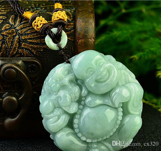 Factory direct natural A goods jade round Maitreya Buddha pendant Smile mouth big belly Buddha hanging pendant wholesale