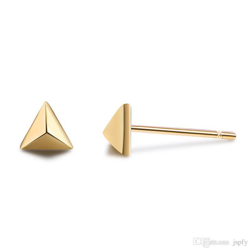2019 New Fashion 925 Sterling Silver Stud Earring Triangle Piercing Earring Jewelry Bijoux En Argent 925 Women Mini Ear Stud Jewelry From Jspfy