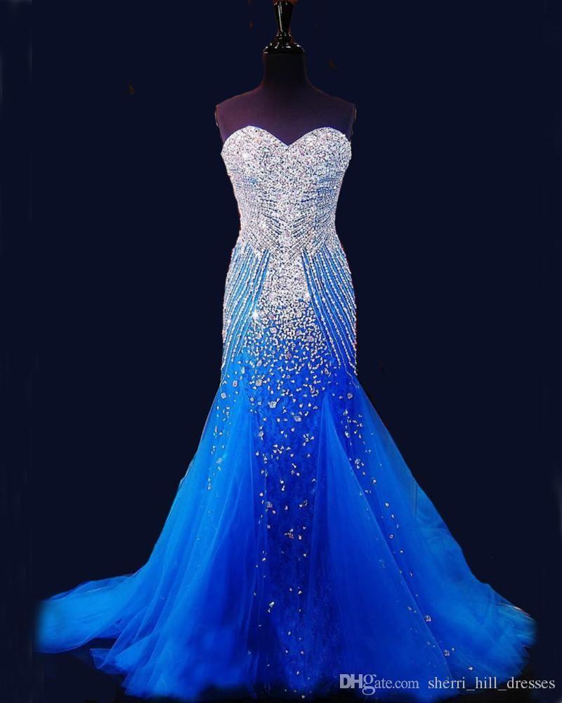 2020 Royal Blue Mermaid Lange Abendkleider Festzug Frauen reizvoller Schatz Vestido Luxus Perlen Kristall Tulle Pageant Abendkleider