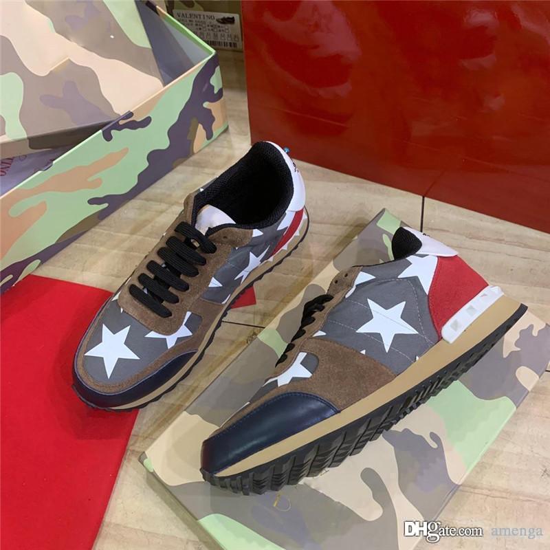 Valent Garavaniss Uomo Verde Rockrunner Camouflage feltro addestratori scarpe da ginnastica con la scatola originale