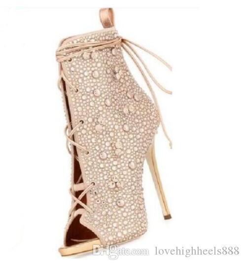 Цвета шампанское / серебристый весна осень зашнуровать с открытым носком женские ботильоны на высоком каблуке из кристаллов очаровательные короткие сапоги 35-42