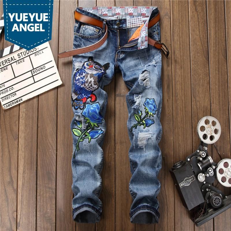 Novo design Furo rasgado Jeans Homens Fashions Bordado animal Azul Denim Trousers Top Quality Primavera Outono Zip Hetero Jeans