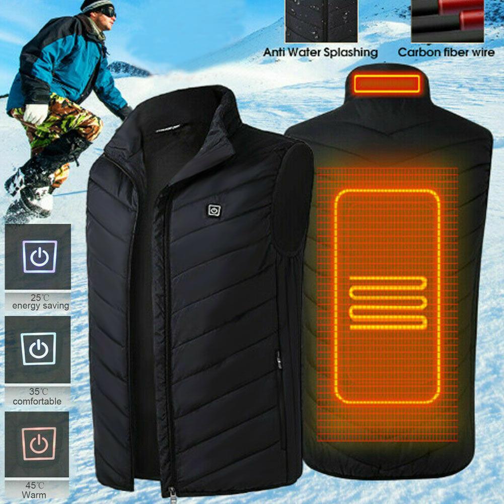 Unisex elettrico riscaldato Vest USB termica di calore Pad Giacche Gilet calda inverno senza maniche zip Gilet Warmer Tops T191213