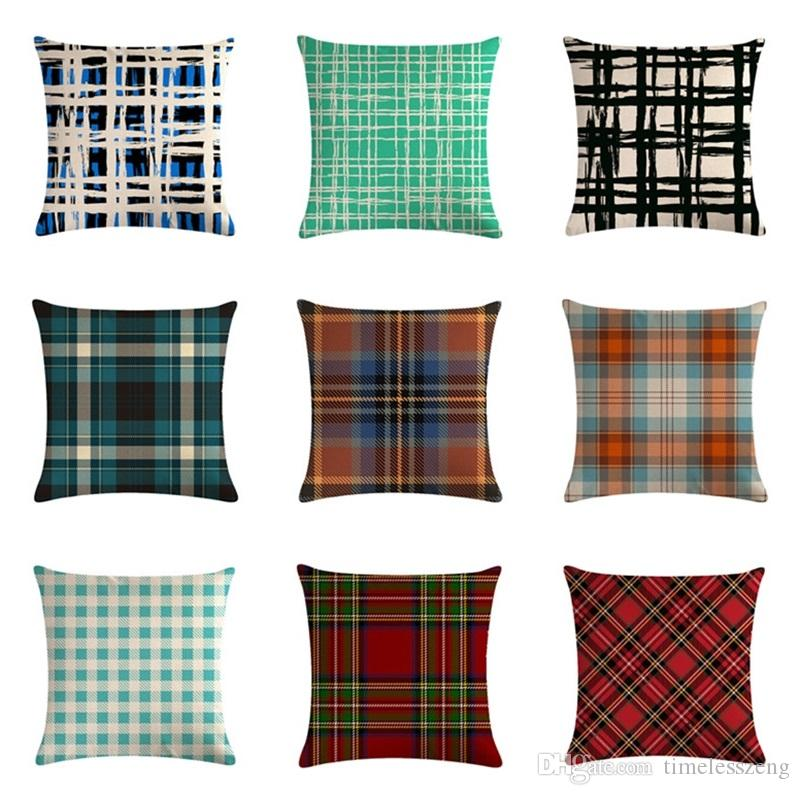 Classic Plaid Pillow Cover For Sofa 18 Colors Durable Tough Linen Plain Pillowcase Decorative Cushion Covers For Chairs Home Decor Gift